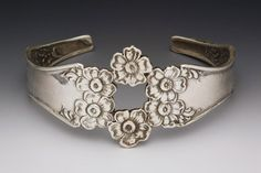 Sterling Silver Ornate FLORAL Spoon Handle CUFF by JewelryTrinkets, $59.00