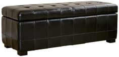Wholesale Interiors Y-105-023-black Black Full Leather Storage Bench Ottoman with Dimples - Each