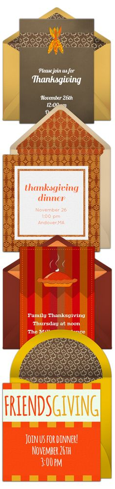 Paper invites are too formal, and emails are too casual. Get it just right with online invitations from Punchbowl. We've got everything you need for your Thanksgiving party.  http://www.punchbowl.com/online-invitations/category/25/?utm_source=Pinterest&utm_medium=18.9P