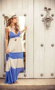 Lovely blue and white maxi dress and nice hat