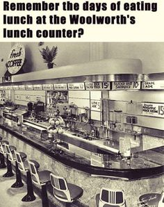 Woolworth's lunch counter My Childhood Memories, Sweet Memories, Childhood Toys, 1970s Childhood, Photo Vintage, Vintage Photos, Vintage Photographs, Vintage Art, I Remember When