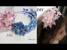 Двойной Новогодний Ободок, ✽Снежинка✽ Канзаши, МК/DIY Christmas Snowflake, Kanzashi Headband - YouTube