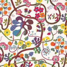 I would love to find a place to use this fantastic reissued Josef Frank fabric! Textile Baranquilla - Linnen 315, Baranquilla, White, Josef Frank | Svenskt Tenn