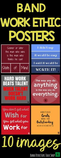 Click below to inspire and motivate your band students with these colorful posters for your band hall bulletin boards! Multiple classroom uses! $6.00 HERE! https://www.teacherspayteachers.com/Product/Work-Ethic-Quote-Posters-Band-Hall-Bulletin-Board-Set-and-Room-Decor-3211425
