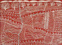 'Fieldwork Red,' by Australian artist Marina Strocchi. acrylic on Belgian Linen. via harveyartprojects