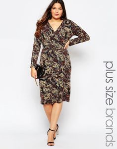 Club L Plus Size Midi Dress With Wrap Front In Autumnal Paisley Print