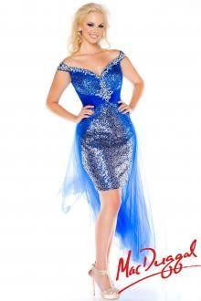 3bc07e77997 Mac Duggal 2014 Plus Size Prom Dresses - Royal Blue   Silver Sequin Chiffon  High-Low Dress - Unique Vintage - Prom dresses