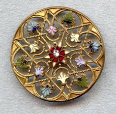 Antique Button - 1800's Openwork Metal Hand Painted Accent Enamel