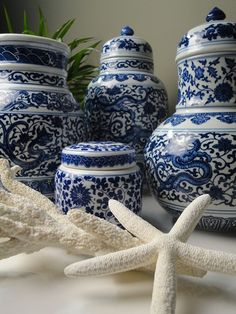 Blue and White jars in a coastal vignette