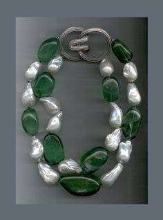N-3428 Two strands of baroque Pearls and tumbled Fluorite nugget beads, Ridged Angela clasp in 18K white Gold