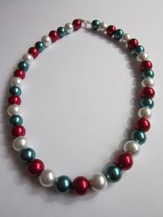 Christmas Red/Green/White Glass Pearl by BeadazzlingButterfly, $24.00
