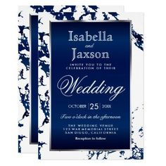 Navy Blue Marble White Satin & Silver Invitation - trendy gifts cool gift ideas customize