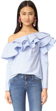 ONE by STYLEKEEPERS Ruffle One Shoulder Top | SHOPBOP SAVE UP TO 25% Use Code: GOBIG16