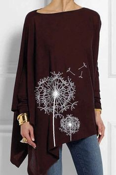 Floral Printed round neck long sleeve irregular hem women T-shirts Casual T Shirts, Casual Tops, Mode Rockabilly, Fashion Packaging, Fru Fru, Types Of Sleeves, Half Sleeves, Short Sleeves, What To Wear