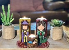 Henna Candles, Diy And Crafts, Arts And Crafts, Xmas Wishes, Tis The Season, Candle Making, Pillar Candles, Nativity, Hand Carved