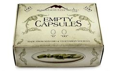 "100 count non-GMO vegetarian empty capsules in sizes ""0"" and ""00""!"