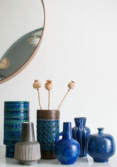 blue vintage ceramics collection #Bitossi #Italy #Italian #blue #ceramics #mcm #midcentury