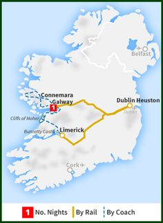 Railtours - The West Coast Explorer including Galway Bay tour map