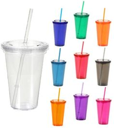 Double Wall Tumbler Cup with Lid and Straw