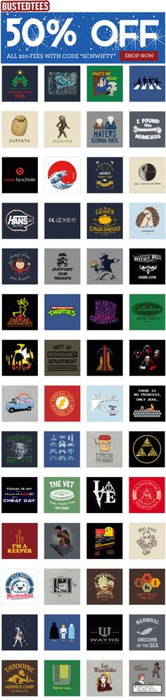 Get 50% off all full price t-shirts! That's 100s of t-shirts for just $10 each!