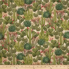 Timeless Treasures Southwest Cactus Garden Cactus from @fabricdotcom  Designed by George McCartney for Timeless Treasures, this cotton print is perfect for quilting, apparel and home decor accents. Colors include green, pink, and tan.