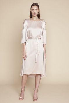 Helena - Hammered Silk Satin Cape Dress