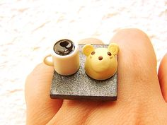 Coffee Ring Kawaii Miniature Food Jewelry Bear Cake / souzou creations