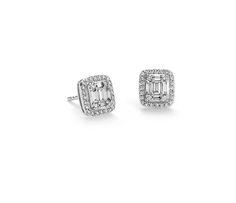 Baguette Diamond Halo Earrings in 18k White Gold. $1280