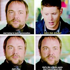 [gifset] Problems in Hell Crowley? 9x23 Do You Believe In Miracles #SPN #Dean  #Crowley