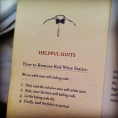 helpful hints - how to remove red wine stains