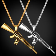 M16 Rifle Shape Pendant & Necklace Rock Punk Style Cool Jewelry 316L Stainless Steel/Gold Plated Chain For Men 2016 GP1847