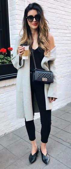 grey and black outfit idea coat + top + bag + skinnies + heels
