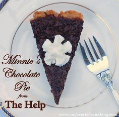 Original recipe for Minnie's Chocolate Pie from the movie, The Help.