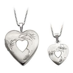 Mother+and+Daughter+Matching+Butterfly+in+Heart+Locket+and+Pendant+Set+in+Sterling+Silver