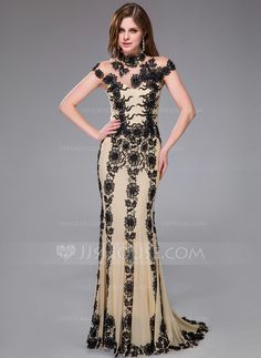 Evening Dresses - $234.49 - Trumpet/Mermaid Scoop Neck Sweep Train Tulle Evening Dress With Lace (018042467) http://jjshouse.com/Trumpet-Mermaid-Scoop-Neck-Sweep-Train-Tulle-Evening-Dress-With-Lace-018042467-g42467