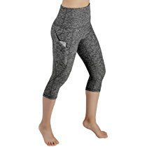 ODODOS High Waist Out Pocket Yoga Capris Pants Tummy Control Workout Running 4 way Stretch Yoga Capris Leggings