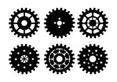 Vector engrenages noirs icons set Vecteur gratuit