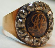 Antique Diamond and Hair Ring | From a unique collection of vintage cluster rings at http://www.1stdibs.com/jewelry/rings/cluster-rings/