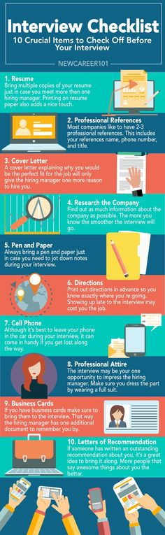 ● INTERVIEW CHECKLIST ● ______________________________ http://NewCareer101.com?utm_content=bufferdf7b4&utm_medium=social&utm_source=pinterest.com&utm_campaign=buffer ⋙ An interview is a crucial part of the hiring process. This is your chance to show the hiring manager why you're the perfect fit for the job. Make sure you spend enough time preparing for the interview. That way you can be confident you checked everything off your list.