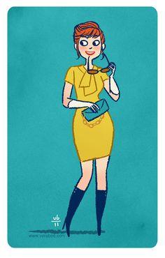 1960s Silk Mr Blackwell Shift Dress, more pictures here.    Drawthisdress by Vera Brosgol