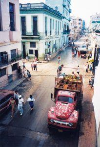 Truck unloading in Havana, Cuba