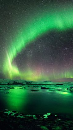 Landscape, Night Sky, Aurora, Green