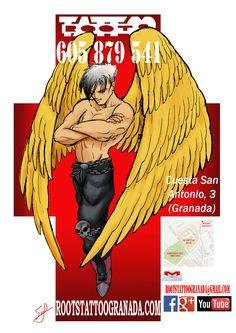 Cartel ángel chulete cruz, Roots Tattoo Granada.