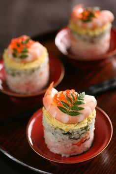 Hinamatsuri #sushi: A dash of rice vinegar is added to sticky rice & is mixed in with a few #veggies & topped off with a bit of #Japanese omelet, shrimp and why not caviar? After all Hinamatsuri celebrates dolls, girls and princesses!