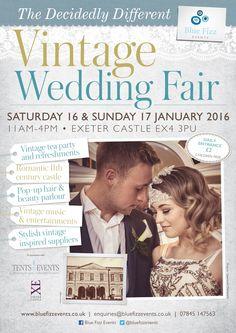 Decidedly Different Vintage Wedding Fair. Exeter Castle. Devon, 16 & 17 January 2016. Wedding Inspiration... http://www.bluefizztentsandevents.co.uk/boutique-vintage-inspired-wedding-fairs-2015-2016/