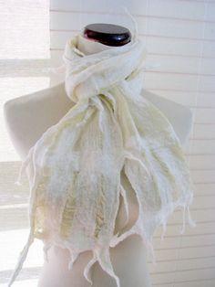 Felt Scarves, NunoFelted Lattice Scarf - Antique Wedding White Silk and Merino Wool 1161. $64.00, via Etsy.