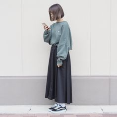 Cute Fashion, Daily Fashion, Girl Fashion, Fashion Outfits, Korean Fashion Minimal, Korean Street Fashion, Muslim Fashion, Hijab Fashion, Long Skirt Fashion
