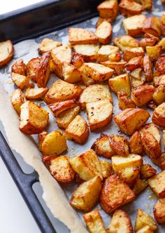 These easy oven roasted potatoes make the ideal side dish for a meat and potatoes dinner.