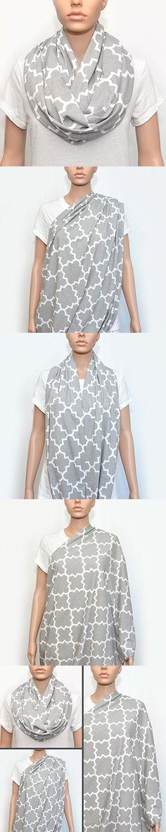 Nursing Infinity Scarf - Nursing Cover - Nursing Scarf - Breastfeeding Scarf - Breastfeeding Cover (Grey Quatrefoil)