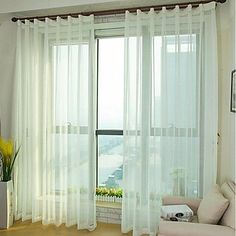 Sheer Cross Faux Linen Screens Sheer Curtain (Two Panel) – USD $ 15.99
